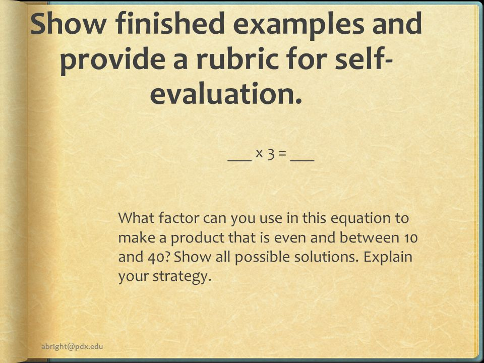 Show finished examples and provide a rubric for self- evaluation.