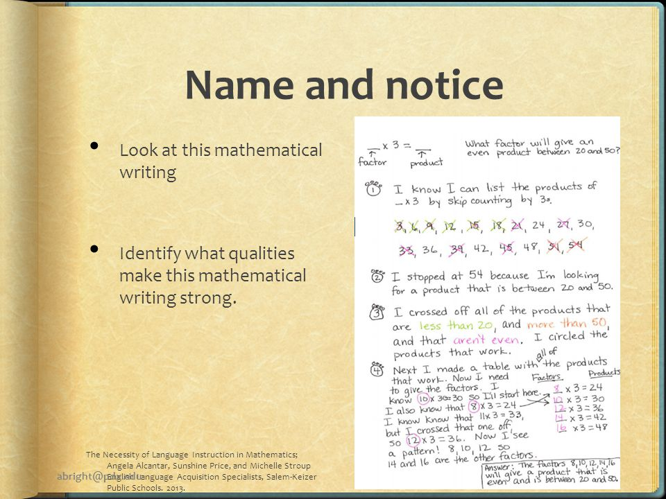 Name and notice Look at this mathematical writing Identify what qualities make this mathematical writing strong.