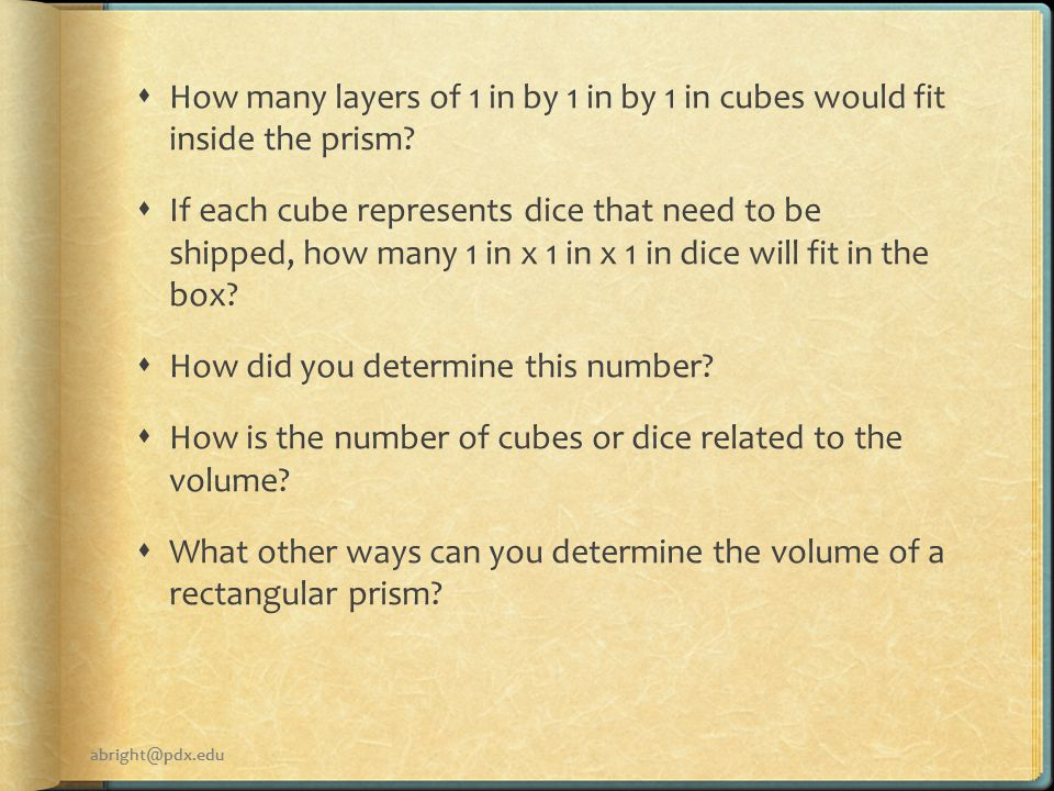  How many layers of 1 in by 1 in by 1 in cubes would fit inside the prism.