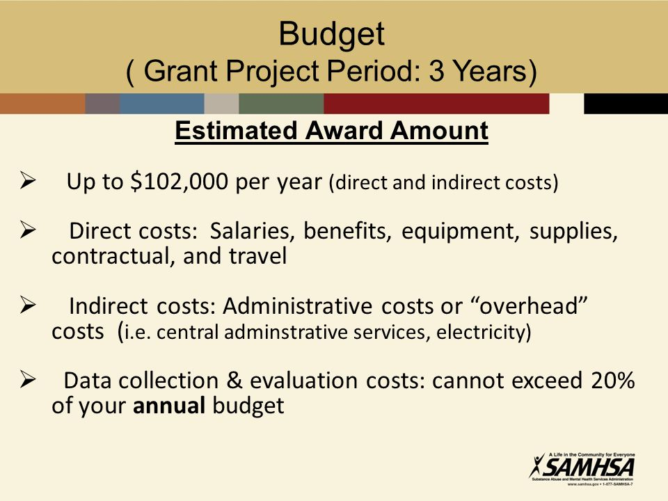 Budget ( Grant Project Period: 3 Years) Estimated Award Amount  Up to $102,000 per year (direct and indirect costs)  Direct costs: Salaries, benefits, equipment, supplies, contractual, and travel  Indirect costs: Administrative costs or overhead costs ( i.e.