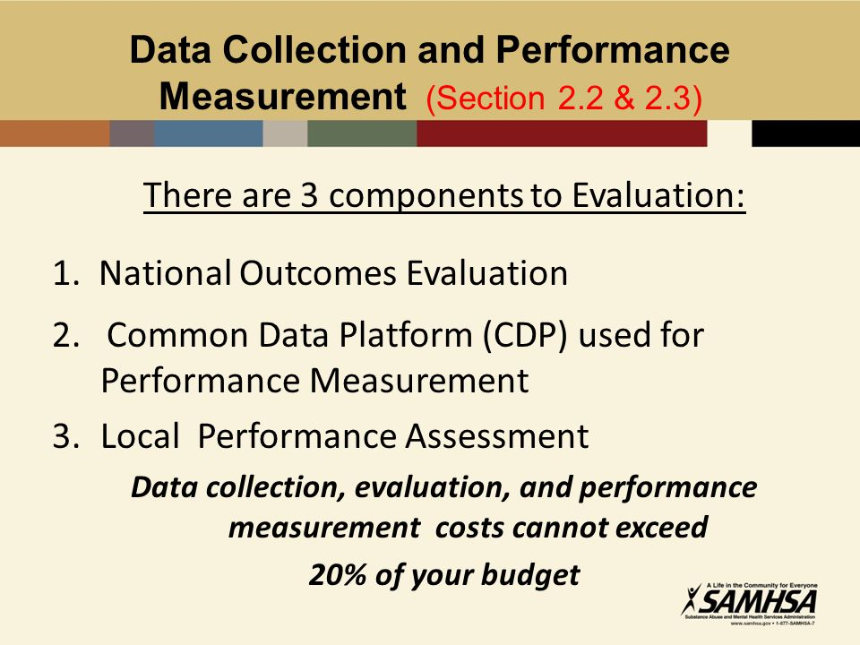 Data Collection and Performance Measurement (Section 2.2 & 2.3) There are 3 components to Evaluation: 1.