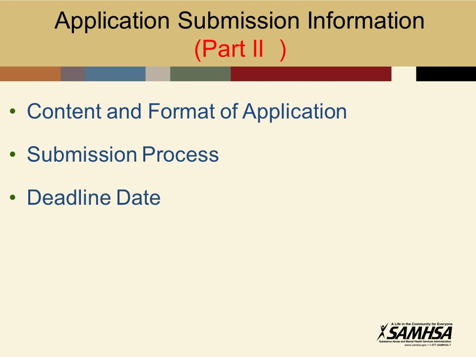 Content and Format of Application Submission Process Deadline Date Application Submission Information (Part II )
