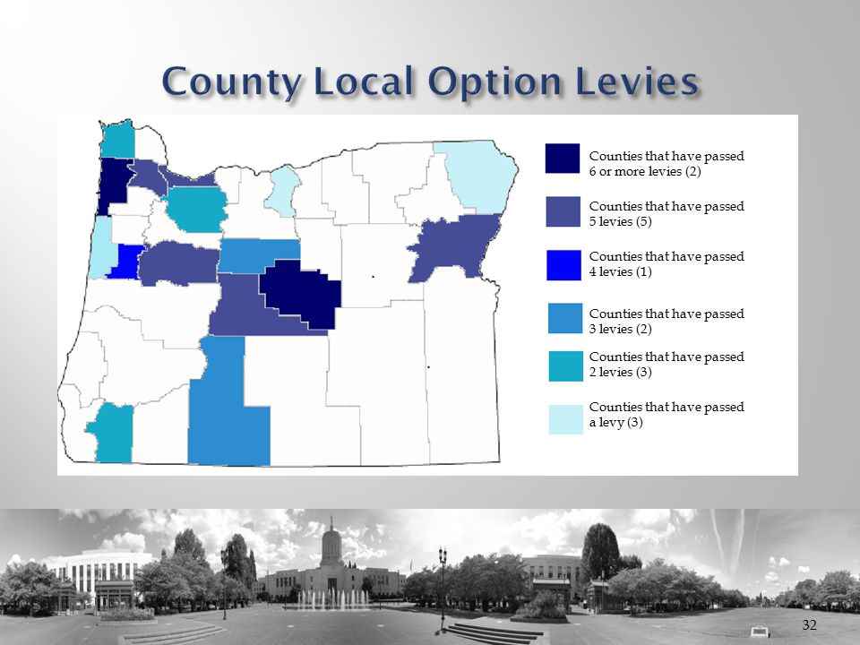 32 Baek Dae H Counties that have passed 6 or more levies (2) Counties that have passed 5 levies (5) Counties that have passed 4 levies (1) Counties th