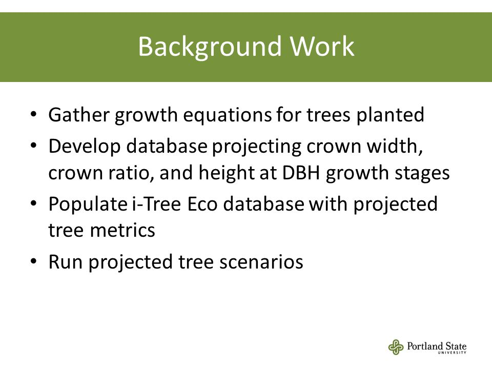 Background Work Gather growth equations for trees planted Develop database projecting crown width, crown ratio, and height at DBH growth stages Populate i-Tree Eco database with projected tree metrics Run projected tree scenarios