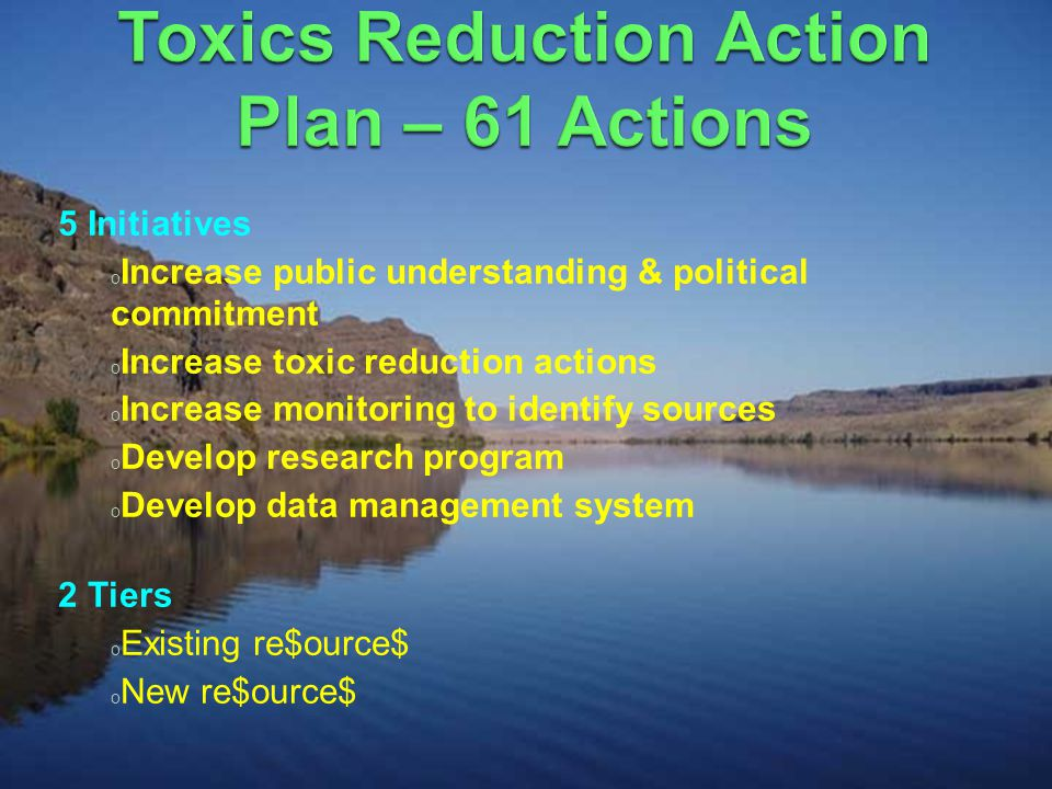 5 Initiatives o Increase public understanding & political commitment o Increase toxic reduction actions o Increase monitoring to identify sources o Develop research program o Develop data management system 2 Tiers o Existing re$ource$ o New re$ource$