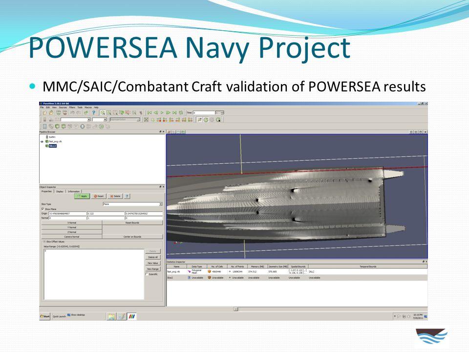 POWERSEA Navy Project MMC/SAIC/Combatant Craft validation of POWERSEA results