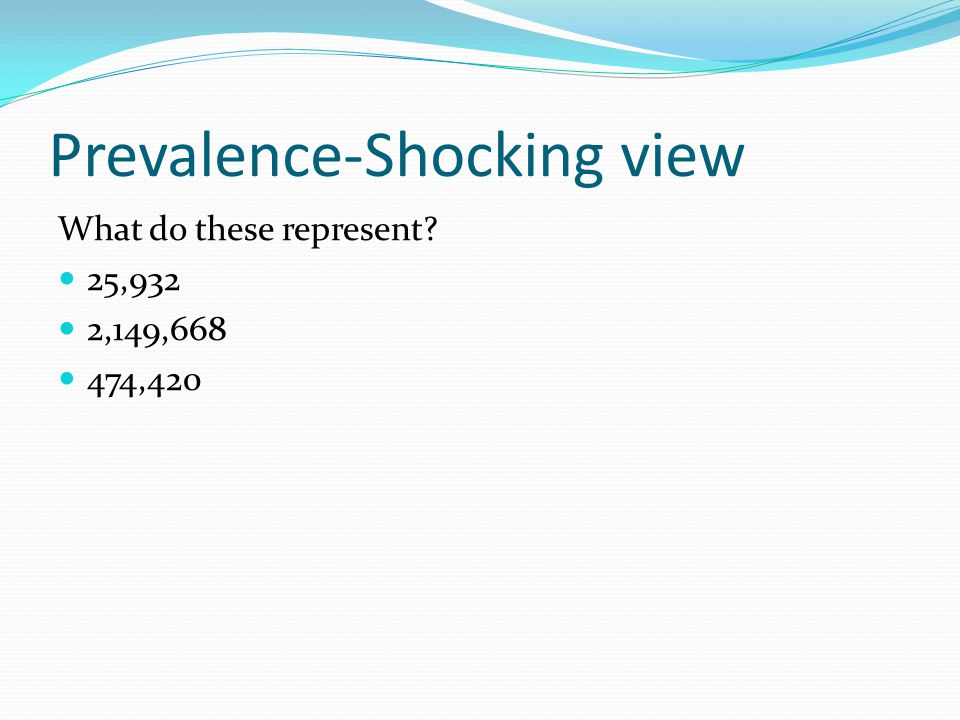 Prevalence-Shocking view What do these represent? 25,932 2,149,668 474,420