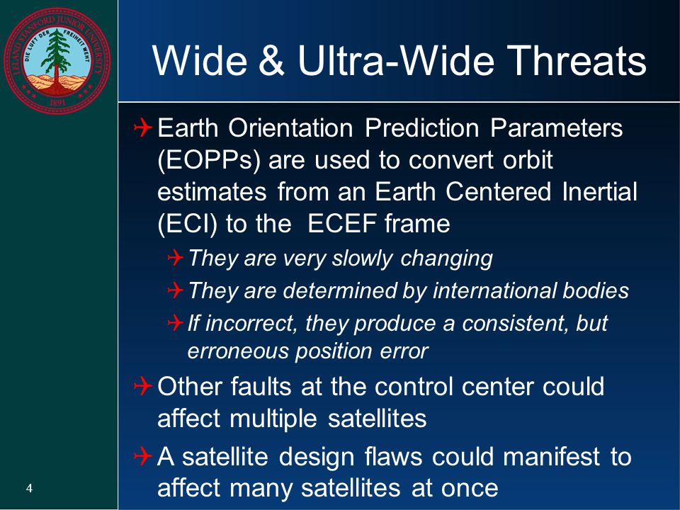 Wide & Ultra-Wide Threats  Earth Orientation Prediction Parameters (EOPPs) are used to convert orbit estimates from an Earth Centered Inertial (ECI)