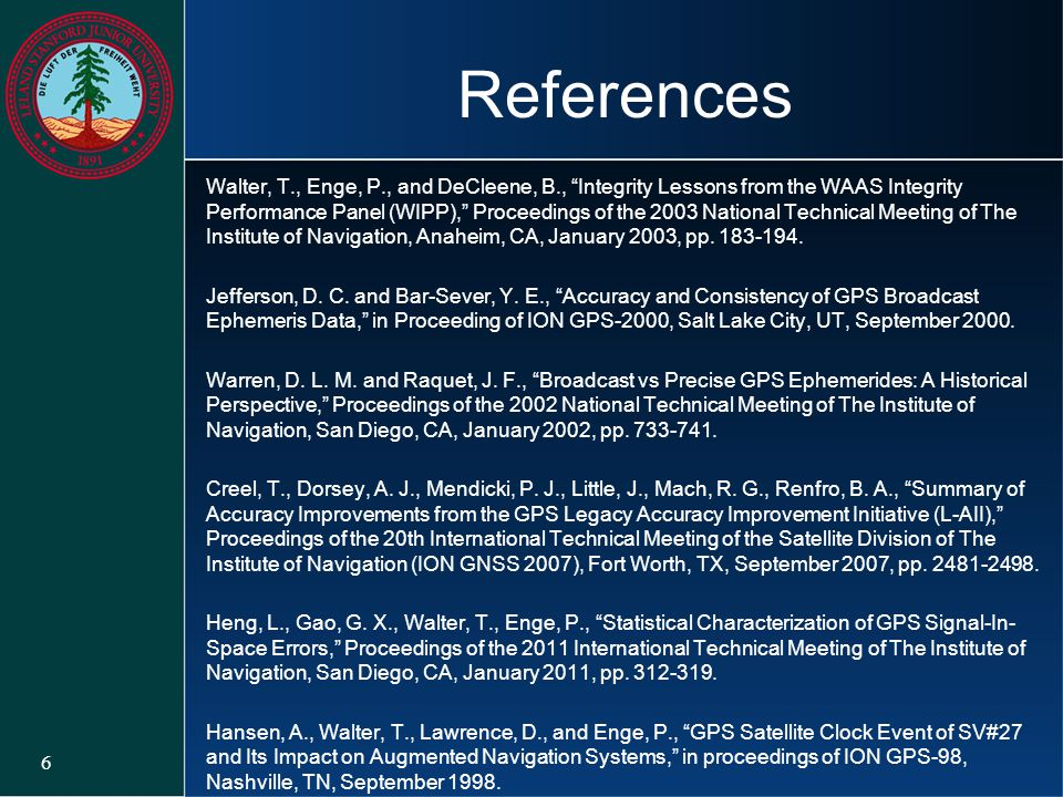 """References Walter, T., Enge, P., and DeCleene, B., """"Integrity Lessons from the WAAS Integrity Performance Panel (WIPP),"""" Proceedings of the 2003 Natio"""
