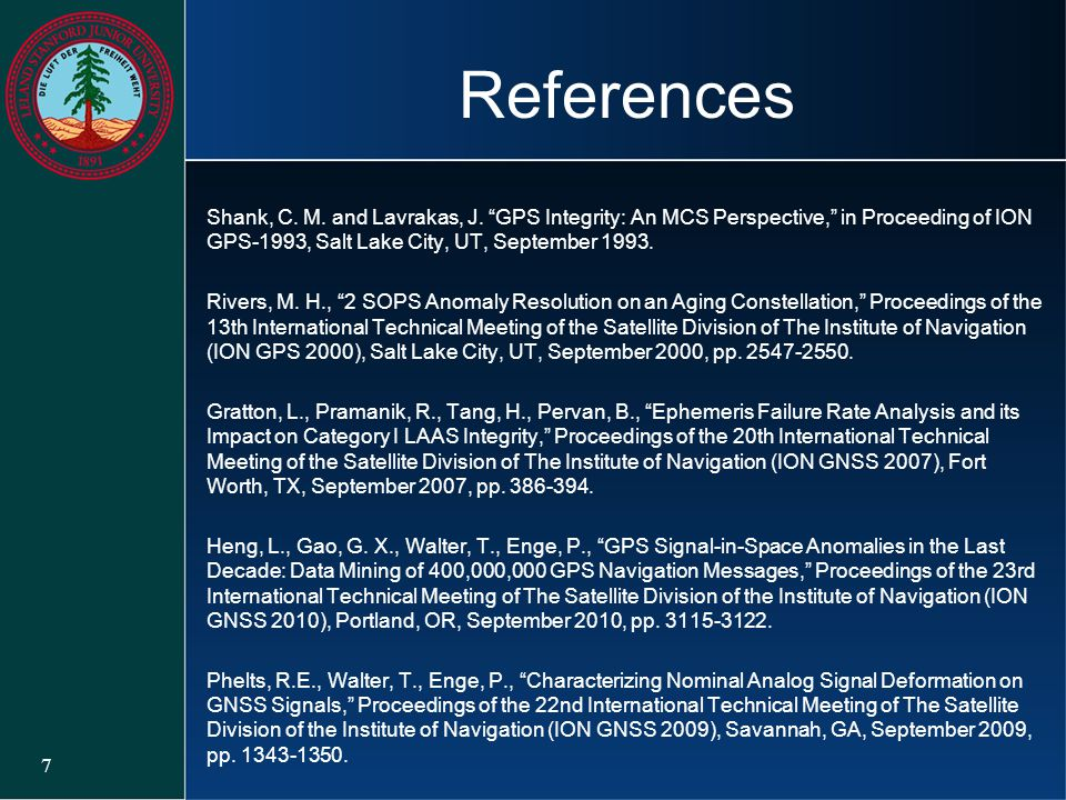 """References Shank, C. M. and Lavrakas, J. """"GPS Integrity: An MCS Perspective,"""" in Proceeding of ION GPS-1993, Salt Lake City, UT, September 1993. River"""