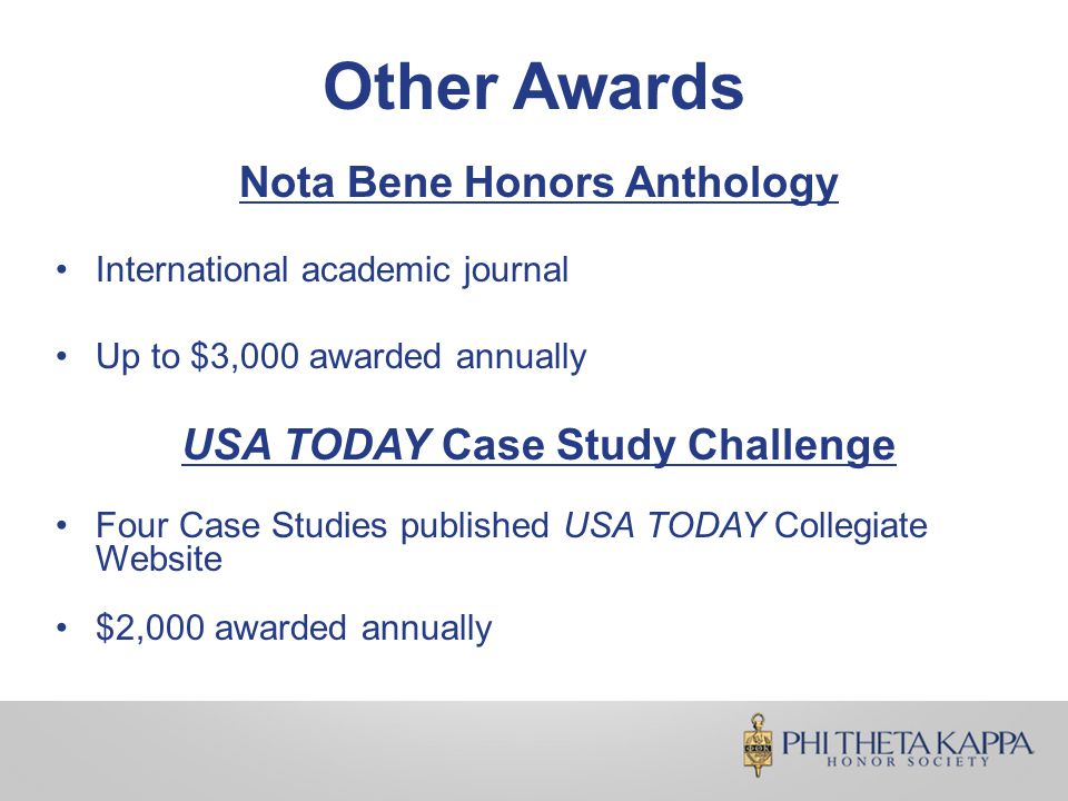 Other Awards Nota Bene Honors Anthology International academic journal Up to $3,000 awarded annually USA TODAY Case Study Challenge Four Case Studies published USA TODAY Collegiate Website $2,000 awarded annually