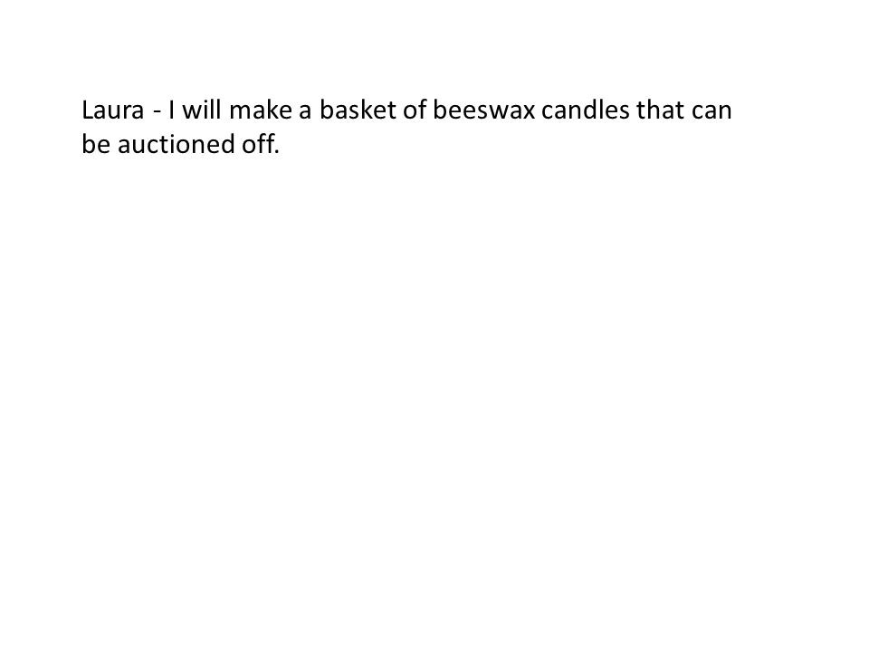 Laura - I will make a basket of beeswax candles that can be auctioned off.
