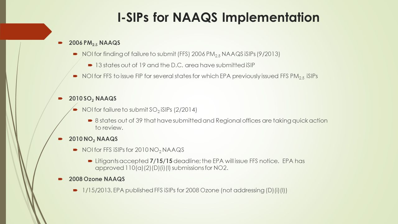 I-SIPs for NAAQS Implementation  2006 PM 2.5 NAAQS  NOI for finding of failure to submit (FFS) 2006 PM 2.5 NAAQS iSIPs (9/2013)  13 states out of 19 and the D.C.