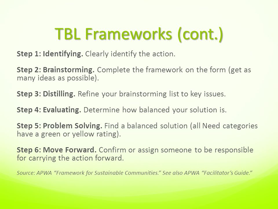 TBL Frameworks (cont.) Step 1: Identifying. Clearly identify the action.