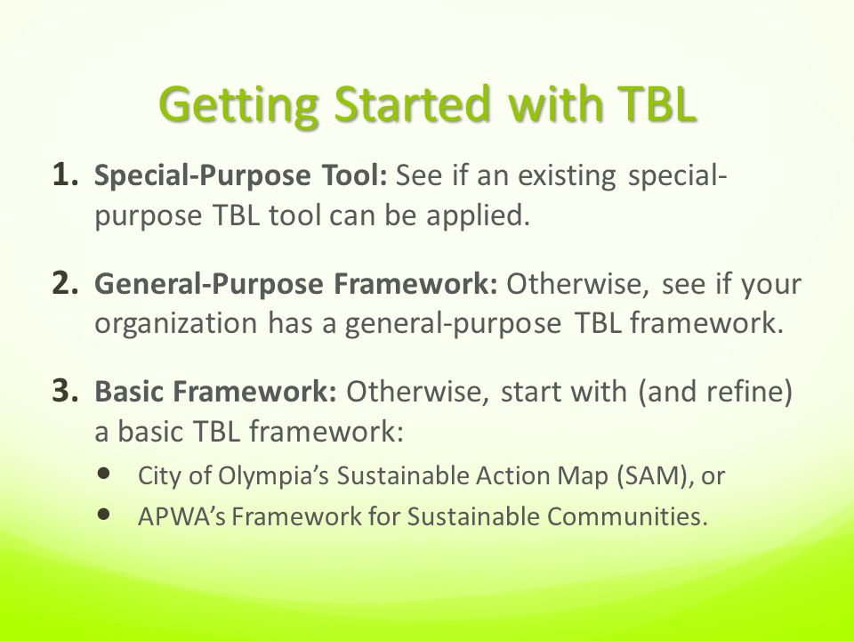 Getting Started with TBL 1.