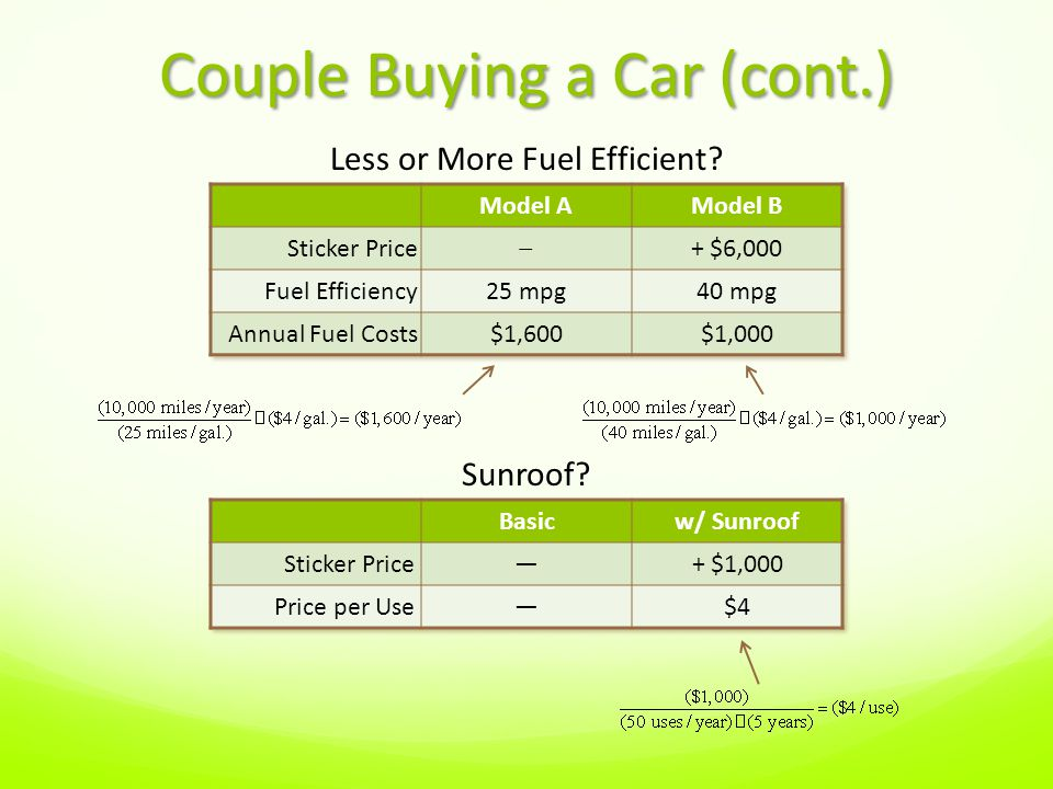 Couple Buying a Car (cont.) Less or More Fuel Efficient Sunroof