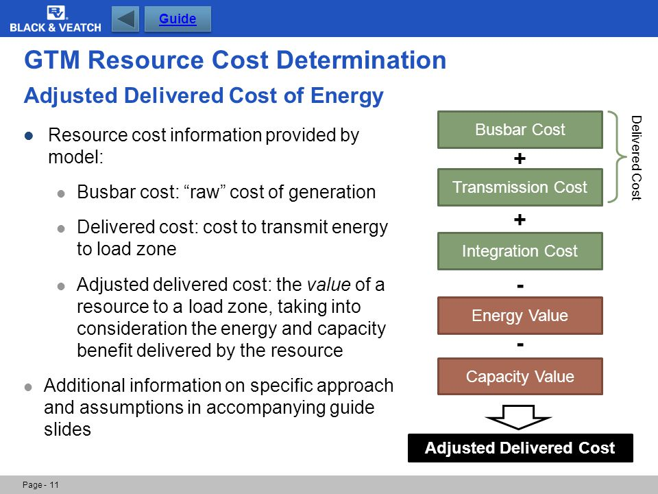 Page - 11 Busbar Cost Transmission Cost Integration Cost + + Energy Value Capacity Value - - Adjusted Delivered Cost GTM Resource Cost Determination A