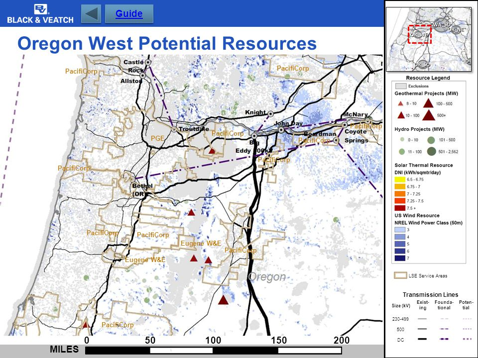 Oregon West Potential Resources 0 50 100 150 200 MILES Eugene W&E PGE PacifiCorp Eugene W&E Transmission Lines Exist- ing Founda- tional Poten- tial 2