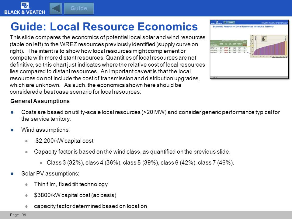 Guide: Local Resource Economics General Assumptions Costs are based on utility-scale local resources (>20 MW) and consider generic performance typical