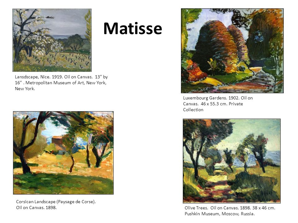Matisse Lansdscape, Nice.1919. Oil on Canvas. 13 by 16 .