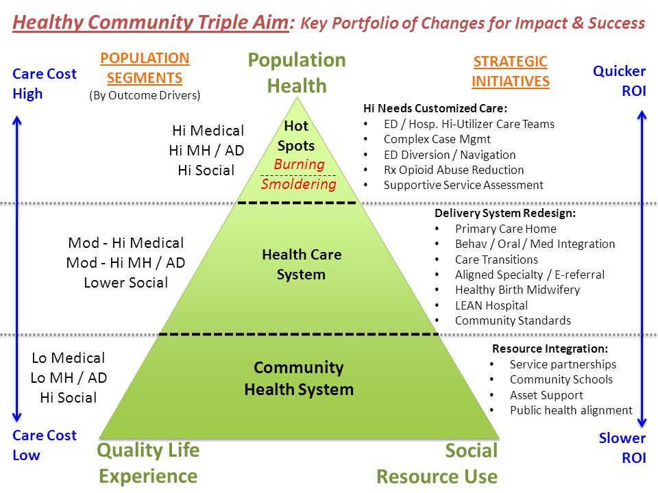 Healthy Community Triple Aim: Key Portfolio of Changes for Impact & Success Quality Life Experience Social Resource Use Mod - Hi Medical Mod - Hi MH / AD Lower Social Health Care System Delivery System Redesign: Primary Care Home Behav / Oral / Med Integration Care Transitions Aligned Specialty / E-referral Healthy Birth Midwifery LEAN Hospital Community Standards Community Health System Lo Medical Lo MH / AD Hi Social Resource Integration: Service partnerships Community Schools Asset Support Public health alignment POPULATION SEGMENTS (By Outcome Drivers) STRATEGIC INITIATIVES Quicker ROI Slower ROI Care Cost High Care Cost Low Hi Medical Hi MH / AD Hi Social Hi Needs Customized Care: ED / Hosp.