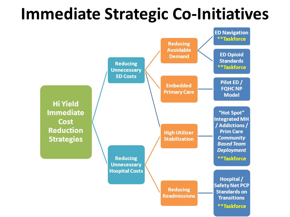 Immediate Strategic Co-Initiatives Hi Yield Immediate Cost Reduction Strategies Reducing Unnecessary ED Costs Reducing Avoidable Demand ED Navigation **Taskforce ED Opioid Standards **Taskforce Embedded Primary Care Pilot ED / FQHC NP Model Reducing Unnecessary Hospital Costs High Utilizer Stabilization Hot Spot Integrated MH / Addictions / Prim Care Community Based Team Deployment **Taskforce Reducing Readmissions Hospital / Safety Net PCP Standards on Transitions **Taskforce