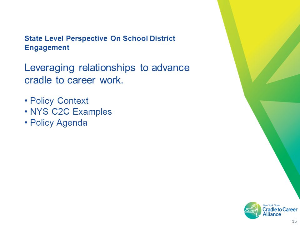 15 State Level Perspective On School District Engagement Leveraging relationships to advance cradle to career work.