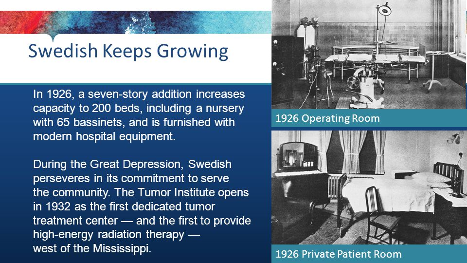 1926 Private Patient Room Swedish Keeps Growing In 1926, a seven-story addition increases capacity to 200 beds, including a nursery with 65 bassinets, and is furnished with modern hospital equipment.