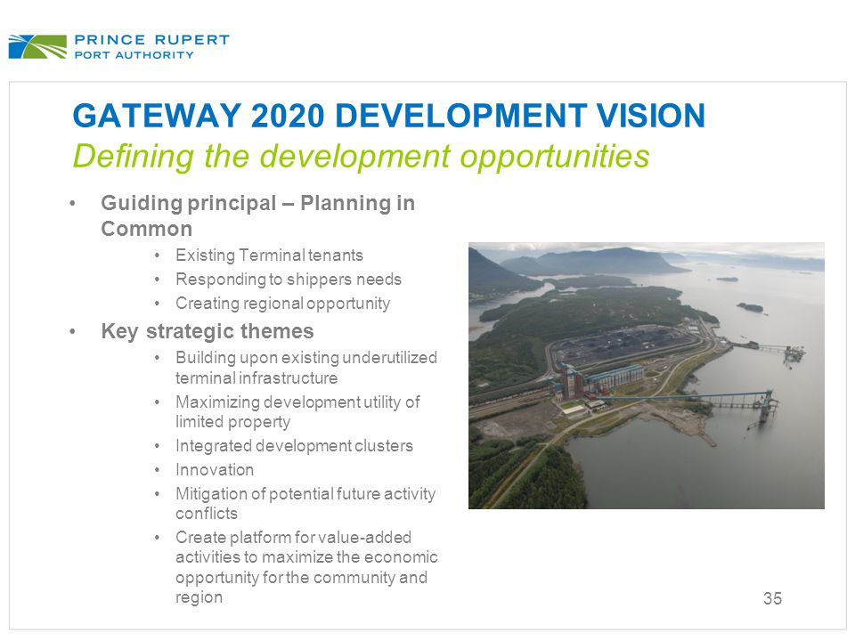 GATEWAY 2020 DEVELOPMENT VISION Defining the development opportunities Guiding principal – Planning in Common Existing Terminal tenants Responding to