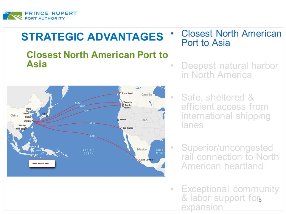 8 STRATEGIC ADVANTAGES Closest North American Port to Asia Deepest natural harbor in North America Safe, sheltered & efficient access from internation