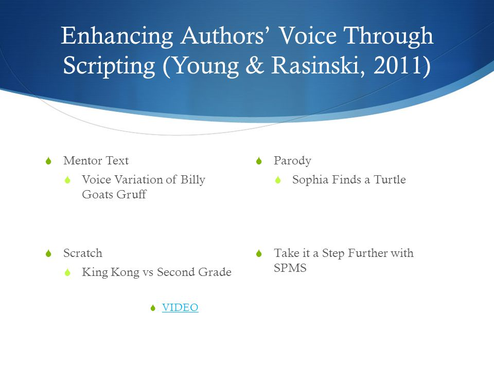 Enhancing Authors' Voice Through Scripting (Young & Rasinski, 2011)  Parody  Sophia Finds a Turtle  Take it a Step Further with SPMS  Mentor Text  Voice Variation of Billy Goats Gruff  Scratch  King Kong vs Second Grade  VIDEO VIDEO