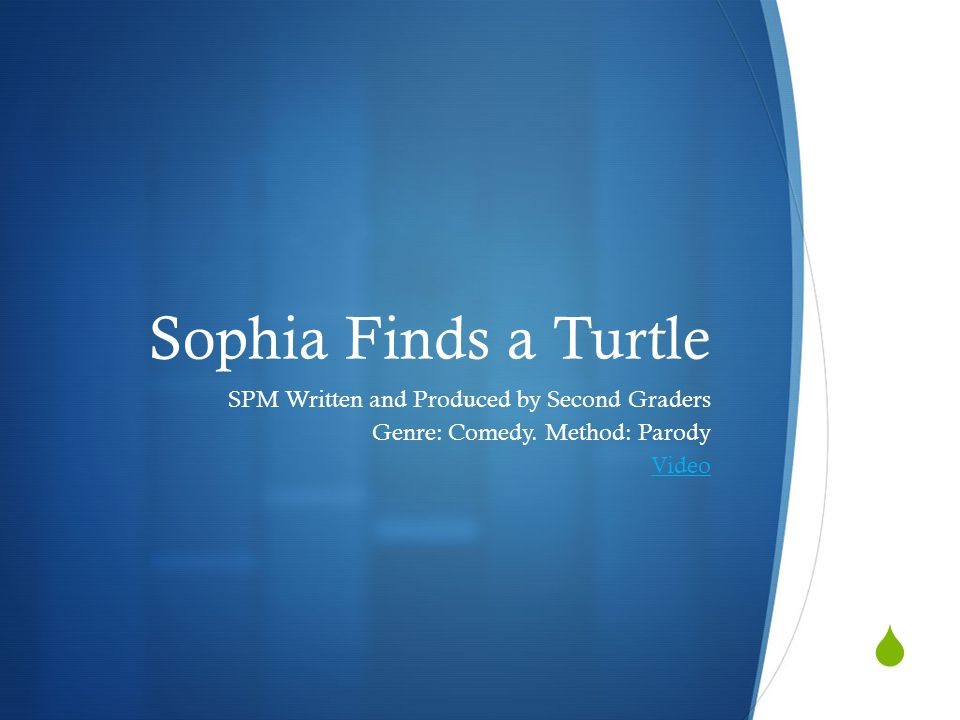  Sophia Finds a Turtle SPM Written and Produced by Second Graders Genre: Comedy.