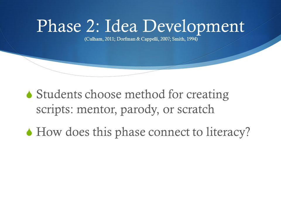 Phase 3: Script Treatment (National Institute of Child Health and Human Development, 2000)  Students write a summary  Assign roles  How does this phase connect to literacy?