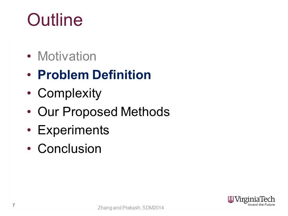 Outline Motivation Problem Definition Complexity Our Proposed Methods Experiments Conclusion 28 Zhang and Prakash, SDM2014