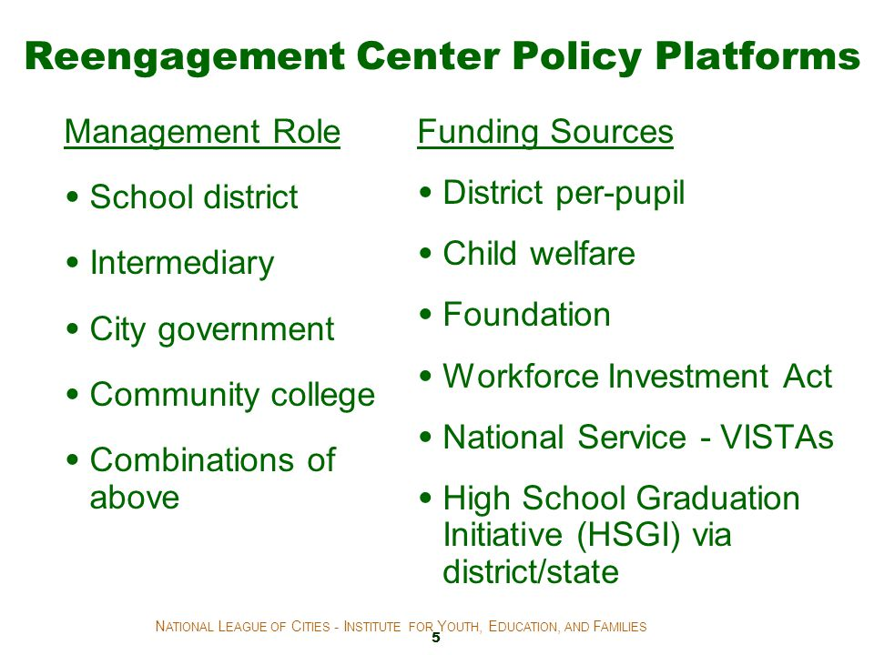 Reengagement Center Policy Platforms Management Role School district Intermediary City government Community college Combinations of above Funding Sour