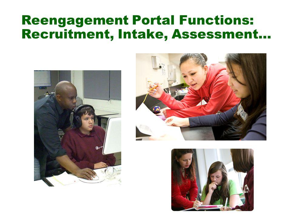 Reengagement Portal Functions: Recruitment, Intake, Assessment…