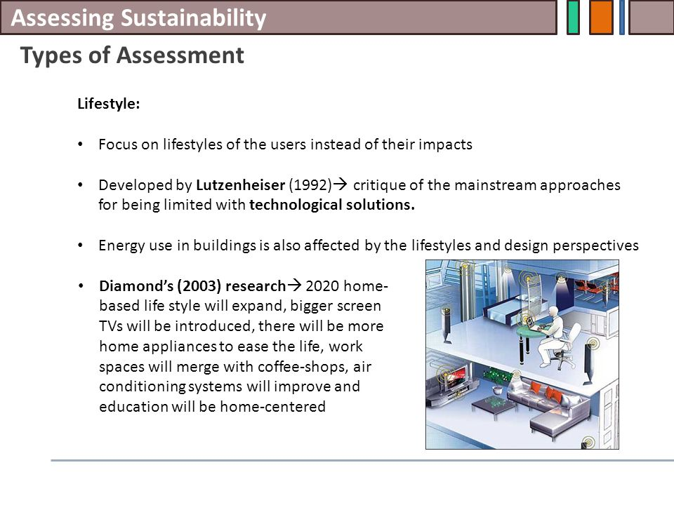 Assessing Sustainability Types of Assessment Lifestyle: Focus on lifestyles of the users instead of their impacts Developed by Lutzenheiser (1992)  c