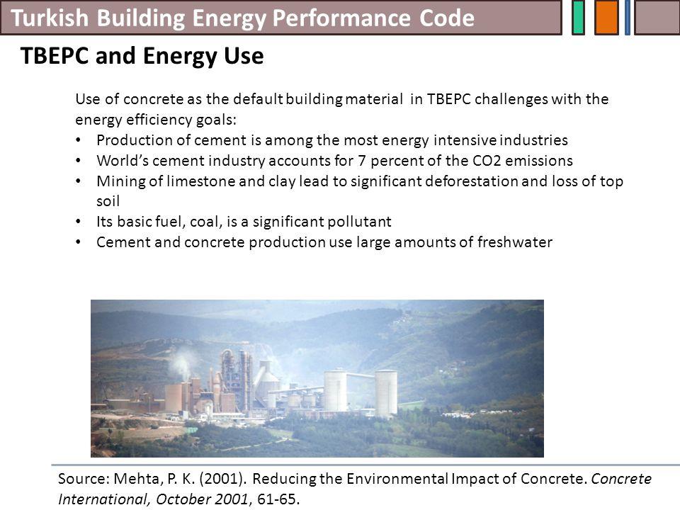 Turkish Building Energy Performance Code TBEPC and Energy Use Source: Mehta, P.