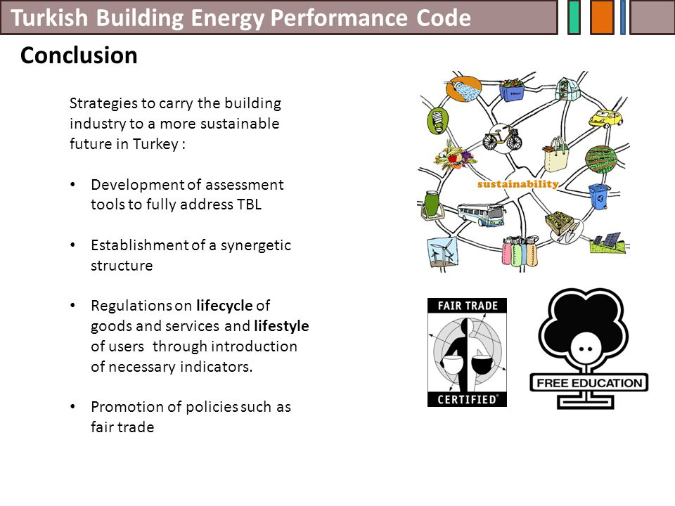 Turkish Building Energy Performance Code Conclusion Strategies to carry the building industry to a more sustainable future in Turkey : Development of