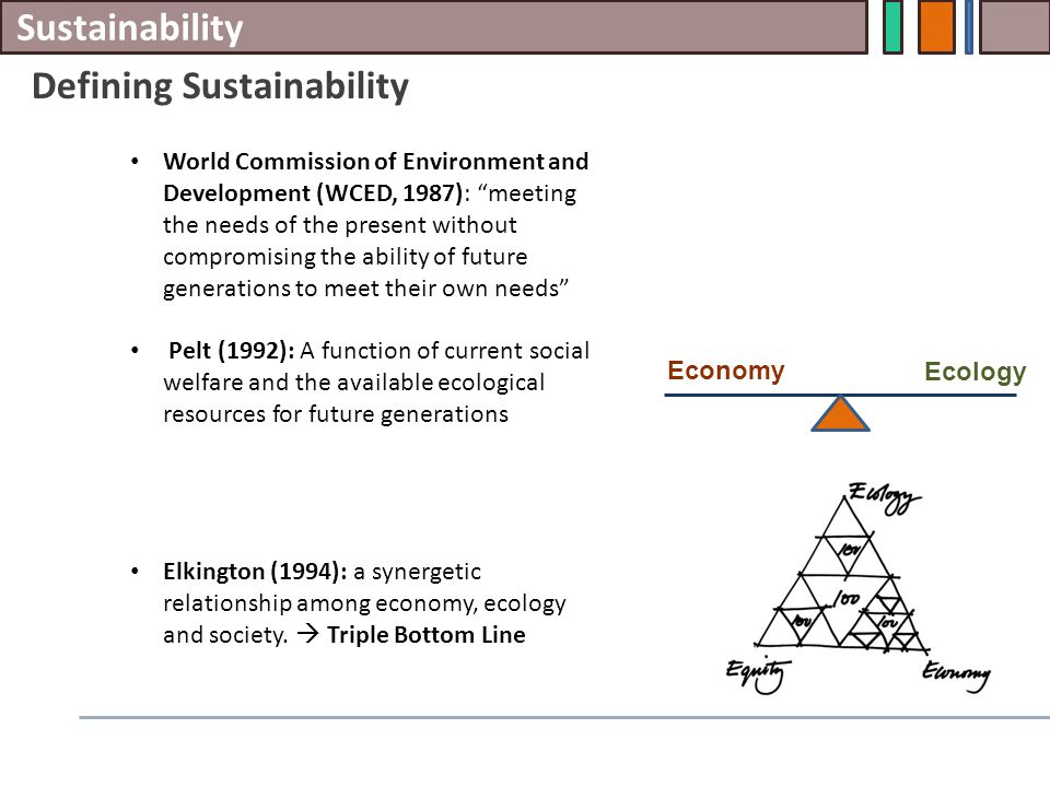 Sustainability Defining Sustainability World Commission of Environment and Development (WCED, 1987): meeting the needs of the present without compromising the ability of future generations to meet their own needs Pelt (1992): A function of current social welfare and the available ecological resources for future generations Elkington (1994): a synergetic relationship among economy, ecology and society.