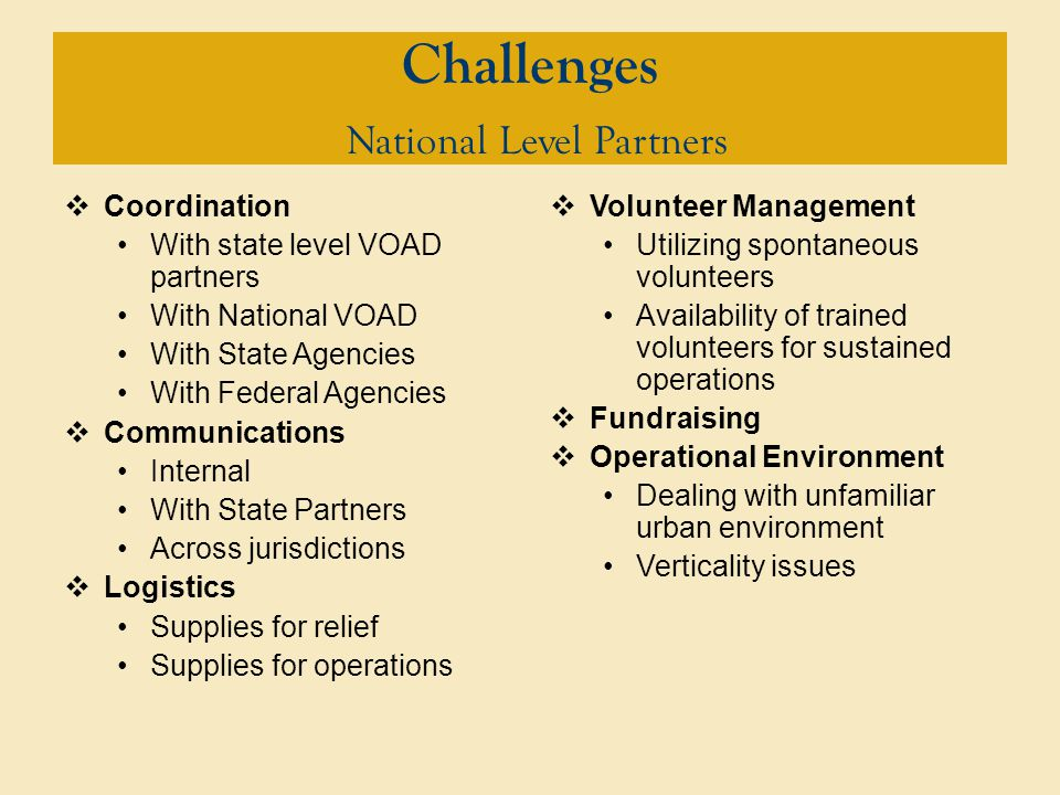 Challenges National Level Partners  Coordination With state level VOAD partners With National VOAD With State Agencies With Federal Agencies  Communications Internal With State Partners Across jurisdictions  Logistics Supplies for relief Supplies for operations  Volunteer Management Utilizing spontaneous volunteers Availability of trained volunteers for sustained operations  Fundraising  Operational Environment Dealing with unfamiliar urban environment Verticality issues