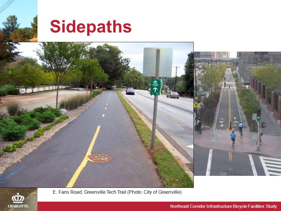 Northeast Corridor Infrastructure Bicycle Facilities Study Sidepaths E. Faris Road; Greenville Tech Trail (Photo: City of Greenville)