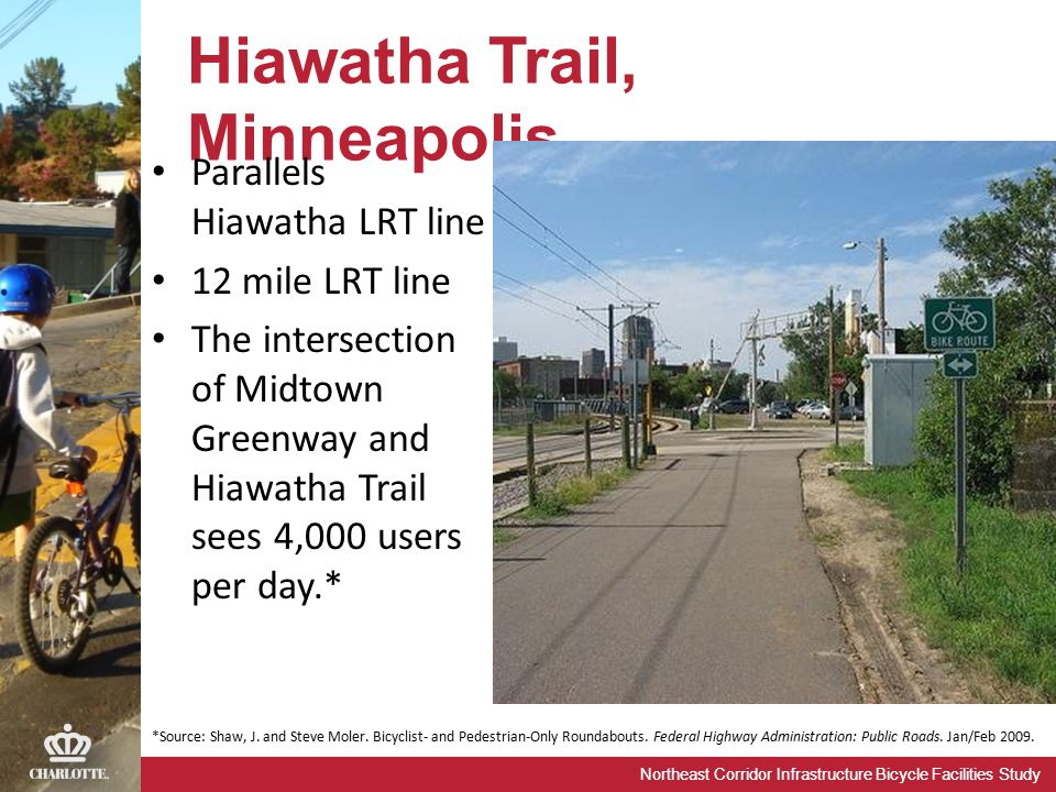 Northeast Corridor Infrastructure Bicycle Facilities Study Hiawatha Trail, Minneapolis *Source: Shaw, J. and Steve Moler. Bicyclist- and Pedestrian-On