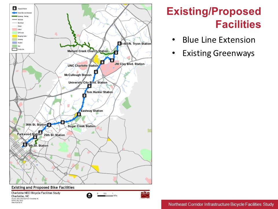 Northeast Corridor Infrastructure Bicycle Facilities Study Blue Line Extension Existing Greenways Existing/Proposed Facilities