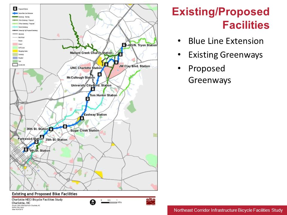 Northeast Corridor Infrastructure Bicycle Facilities Study Blue Line Extension Existing Greenways Proposed Greenways Existing/Proposed Facilities