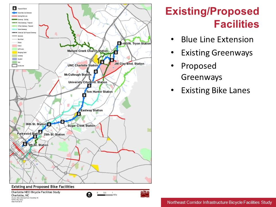 Northeast Corridor Infrastructure Bicycle Facilities Study Blue Line Extension Existing Greenways Proposed Greenways Existing Bike Lanes Existing/Proposed Facilities