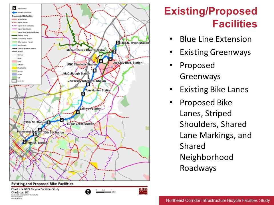 Northeast Corridor Infrastructure Bicycle Facilities Study Blue Line Extension Existing Greenways Proposed Greenways Existing Bike Lanes Proposed Bike