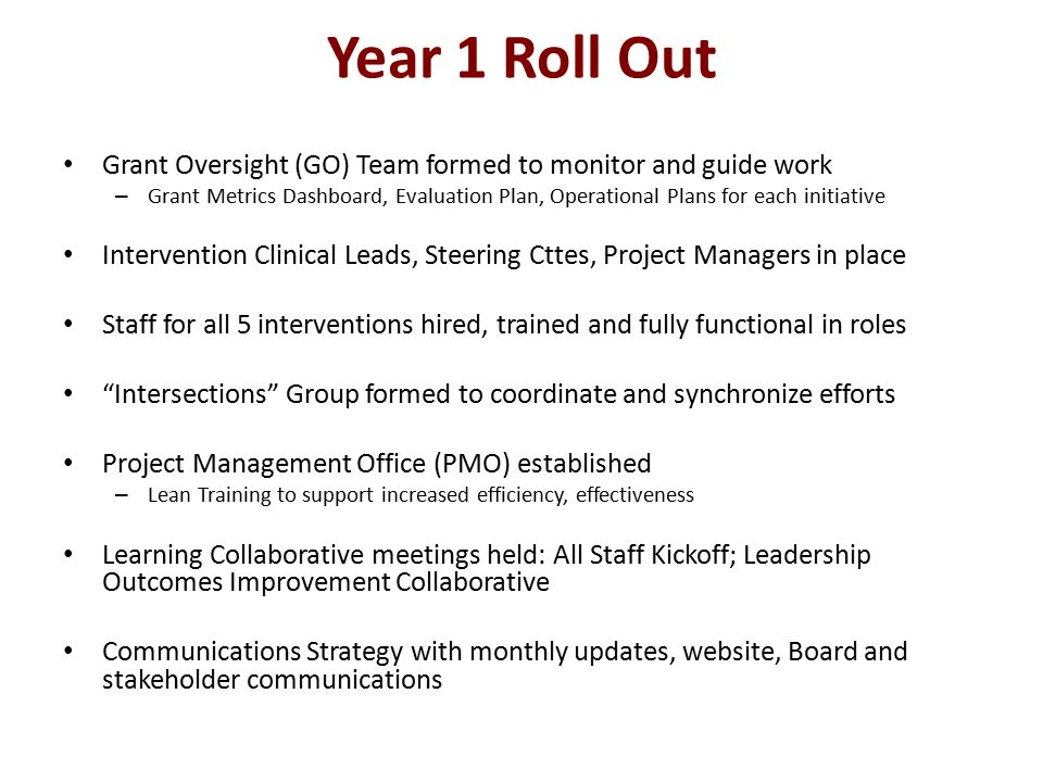 Year 1 Roll Out Grant Oversight (GO) Team formed to monitor and guide work – Grant Metrics Dashboard, Evaluation Plan, Operational Plans for each initiative Intervention Clinical Leads, Steering Cttes, Project Managers in place Staff for all 5 interventions hired, trained and fully functional in roles Intersections Group formed to coordinate and synchronize efforts Project Management Office (PMO) established – Lean Training to support increased efficiency, effectiveness Learning Collaborative meetings held: All Staff Kickoff; Leadership Outcomes Improvement Collaborative Communications Strategy with monthly updates, website, Board and stakeholder communications