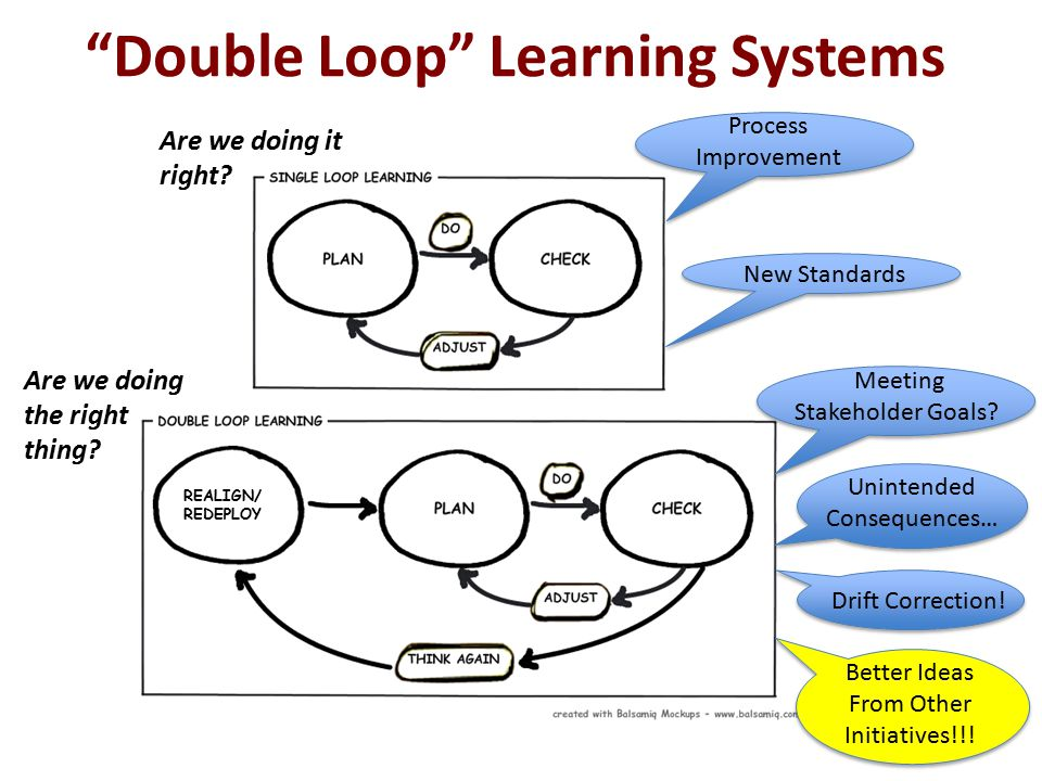 Double Loop Learning Systems REALIGN/ REDEPLOY Are we doing it right.