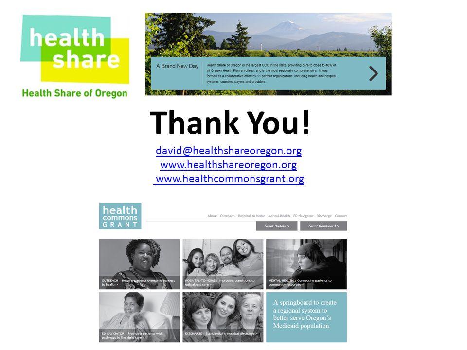Thank You! david@healthshareoregon.org www.healthshareoregon.org www.healthcommonsgrant.org